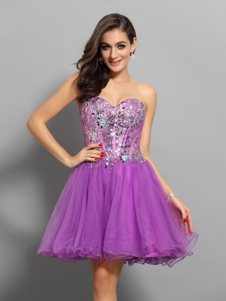 A-Line/Princess Fuchsia Satin Short/Mini Homecoming Dresses with Beading