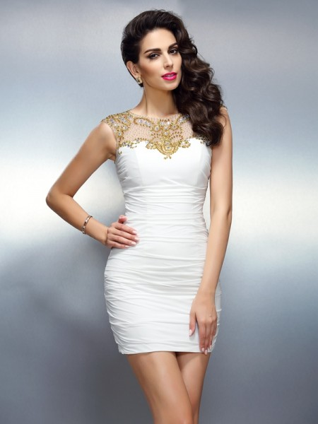 Sheath/Column White Chiffon Short/Mini Homecoming Dresses with Beading