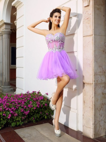 A-Line/Princess Fuchsia Organza Short/Mini Homecoming Dresses with Beading