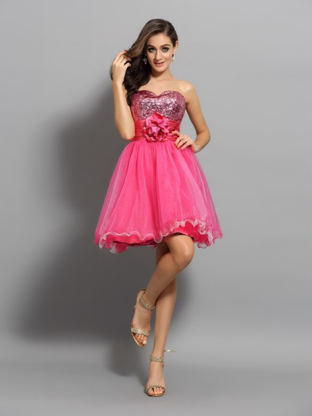 A-Line/Princess Watermelon Net Short/Mini Homecoming Dresses with Ruffles