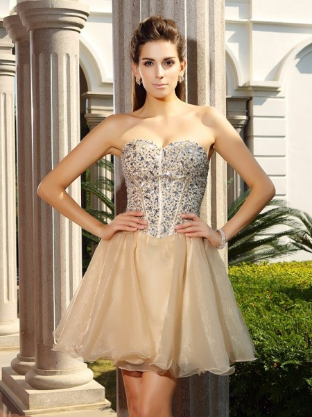 A-Line/Princess Champagne Organza Short/Mini Homecoming Dresses with Ruffles