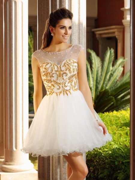 A-Line/Princess White Net Short/Mini Homecoming Dresses with Ruffles