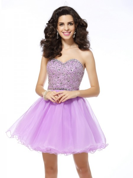 A-Line/Princess Lavender Organza Short/Mini Homecoming Dresses with Ruffles