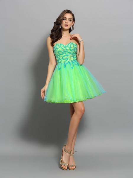 A-Line/Princess Green Net Short/Mini Homecoming Dresses with Beading
