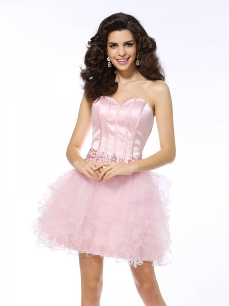 A-Line/Princess Pink Net Short/Mini Homecoming Dresses with Ruffles