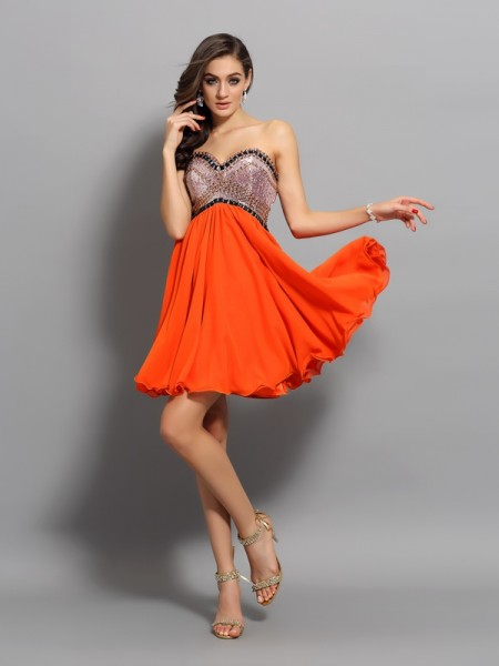 A-Line/Princess Orange Organza Short/Mini Homecoming Dresses with Ruffles