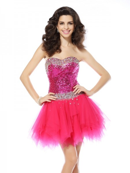 A-Line/Princess Fuchsia Net Short/Mini Homecoming Dresses with Beading