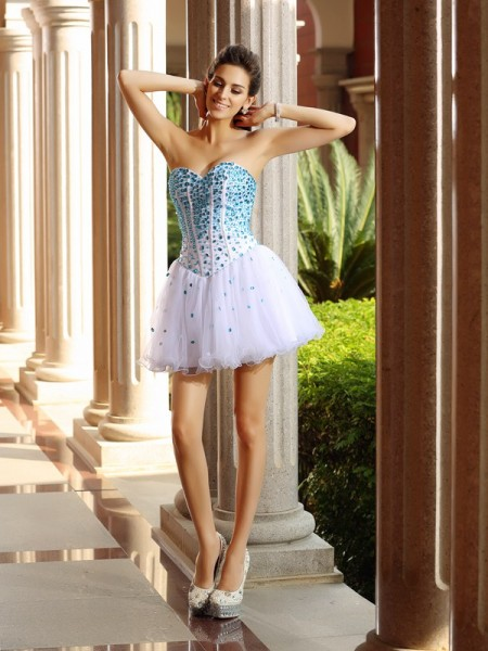 A-Line/Princess White Tulle Short/Mini Homecoming Dresses with Ruffles