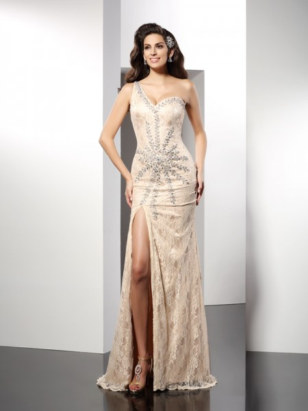 Sheath/Column Champagne Elastic Woven Satin Sweep/Brush Train Dresses with Other