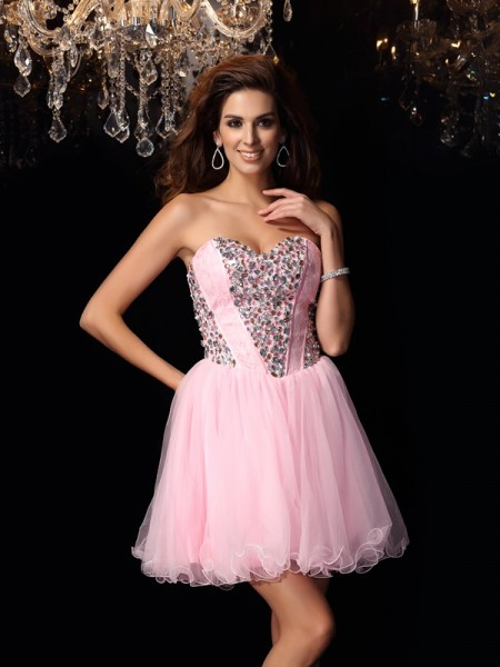 A-Line/Princess Pink Elastic Woven Satin Short/Mini Homecoming Dresses with Ruffles