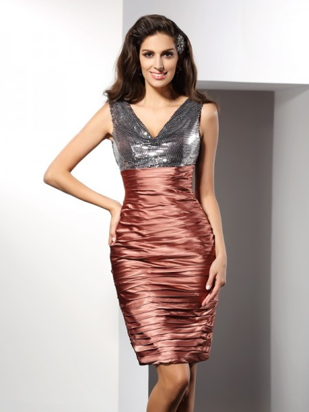 Sheath/Column Brown Silk like Satin Knee-Length Homecoming Dresses with Other