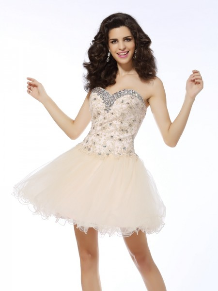 A-Line/Princess Champagne Satin Short/Mini Homecoming Dresses with Ruffles