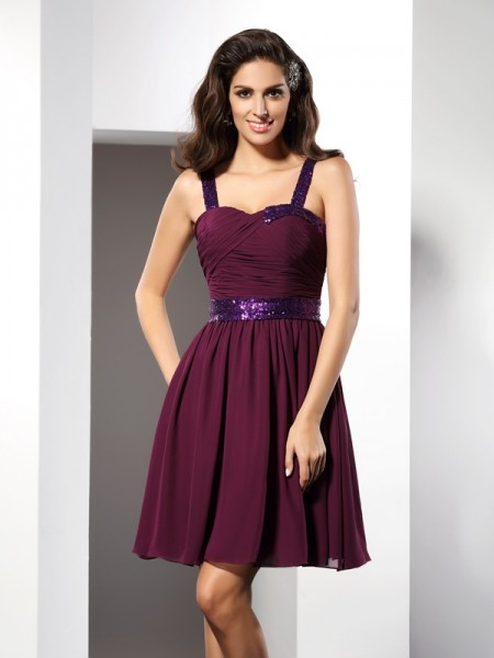 A-Line/Princess Grape Chiffon Short/Mini Homecoming Dresses with Ruched