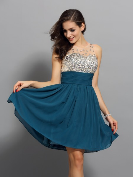 A-Line/Princess Other Chiffon Short/Mini Homecoming Dresses with Rhinestone