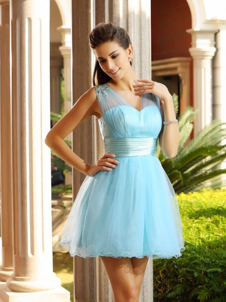 A-Line/Princess Light Sky Blue Net Short/Mini Homecoming Dresses with Beading