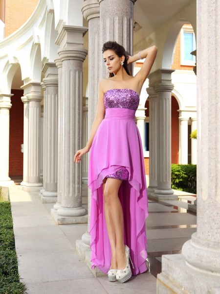 A-Line/Princess Fuchsia Chiffon Asymmetrical Homecoming Dresses with Beading