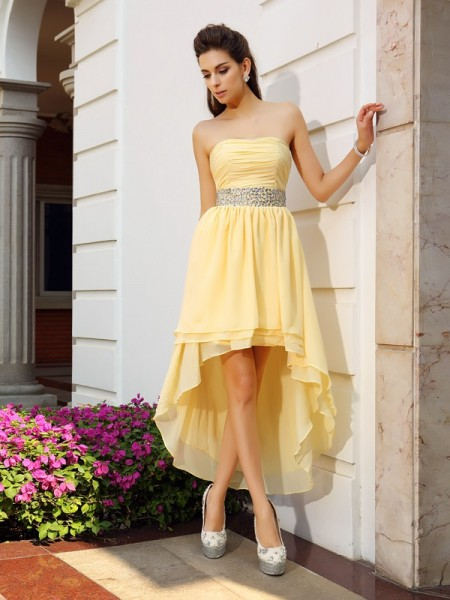 A-Line/Princess Yellow Chiffon Asymmetrical Homecoming Dresses with Beading