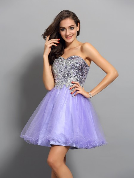 A-Line/Princess Lavender Net Short/Mini Homecoming Dresses with Beading