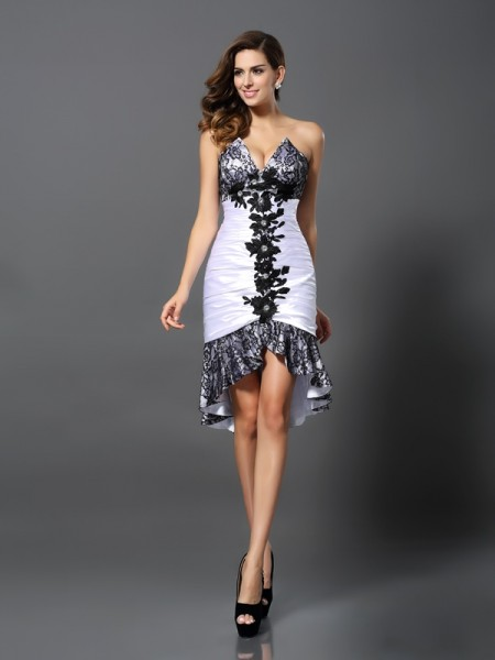 Sheath/Column White Elastic Woven Satin Asymmetrical Homecoming Dresses with Lace