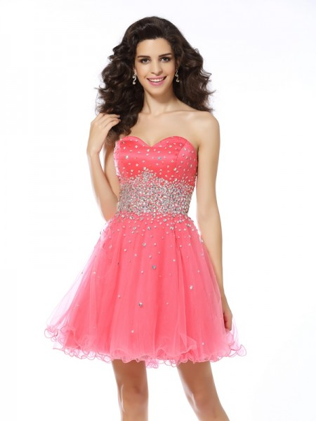 A-Line/Princess Pink Organza Short/Mini Homecoming Dresses with Beading