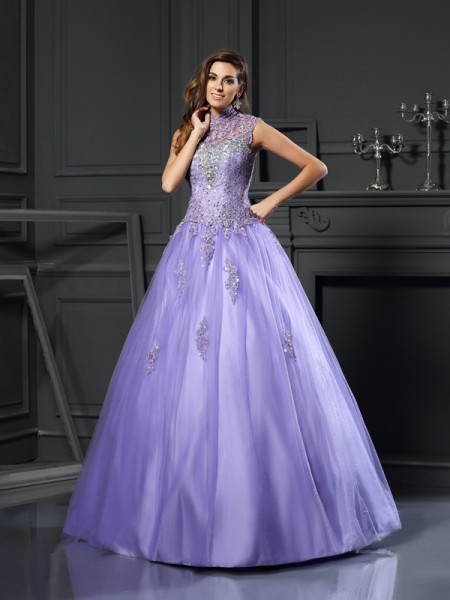 Ball Gown Regency Net Floor-Length Dresses with Beading
