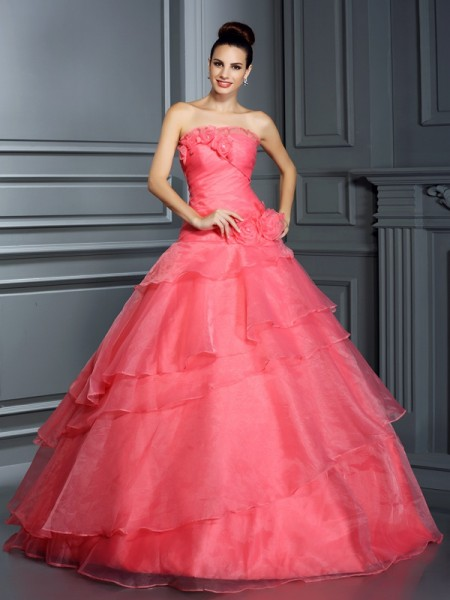 Ball Gown Pink Organza Floor-Length Dresses with Hand-Made Flower
