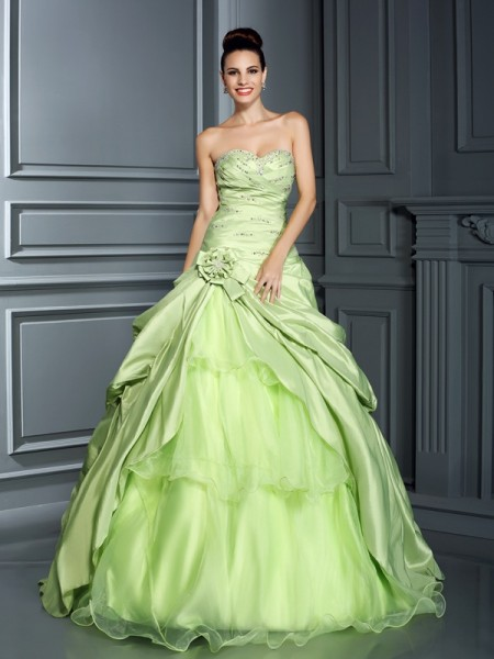 Ball Gown Sage Taffeta Floor-Length Dresses with Hand-Made Flower