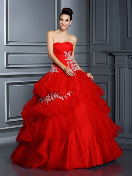 Ball Gown Red Organza Floor-Length Dresses with Applique