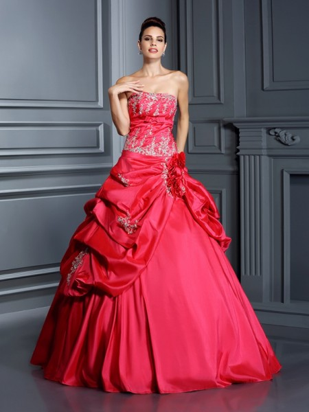 Ball Gown Red Taffeta Floor-Length Dresses with Applique