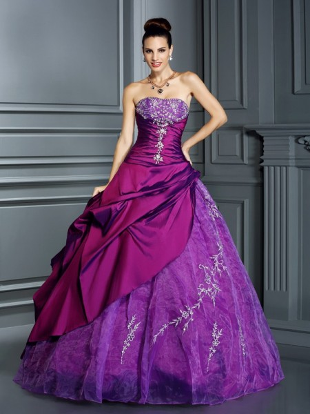 Ball Gown Regency Taffeta Floor-Length Dresses with Applique
