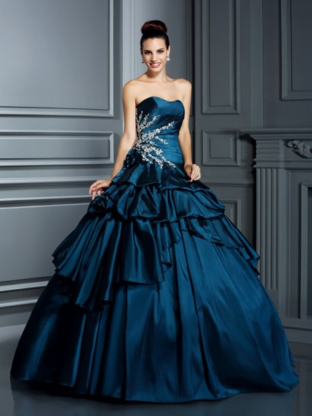 Ball Gown Dark Navy Taffeta Floor-Length Dresses with Beading