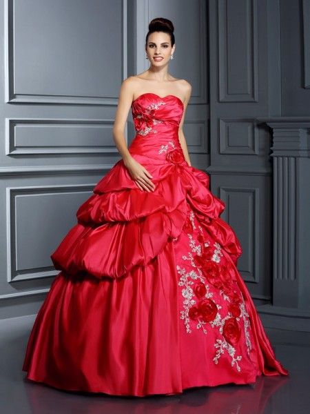 Ball Gown Red Taffeta Floor-Length Dresses with Hand-Made Flower