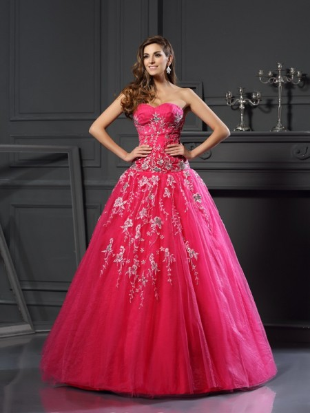 Ball Gown Fuchsia Net Floor-Length Dresses with Applique