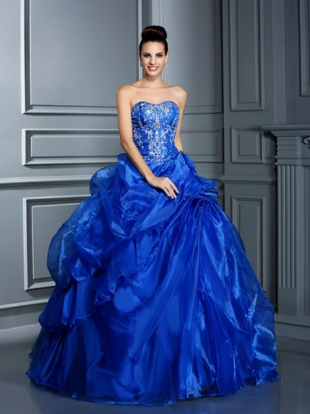 Ball Gown Royal Blue Satin Floor-Length Dresses with Applique