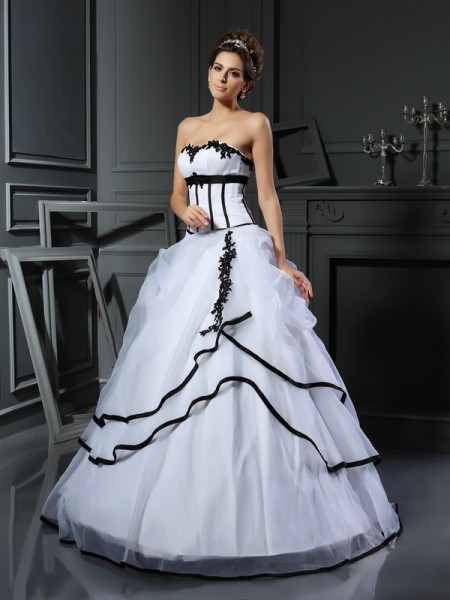 Ball Gown White Satin Floor-Length Wedding Dresses with Applique