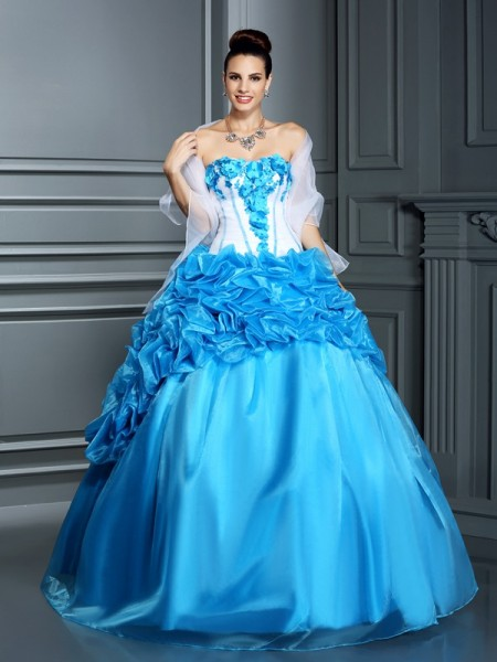 Ball Gown Blue Satin Floor-Length Dresses with Ruffles