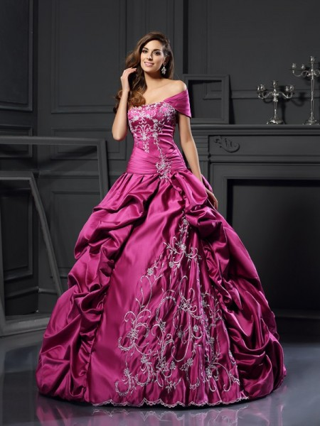 Ball Gown Regency Satin Floor-Length Dresses with Applique