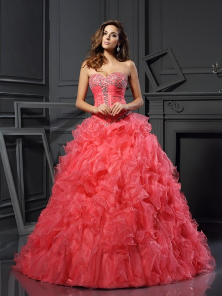 Ball Gown Watermelon Organza Floor-Length Dresses with Ruffles