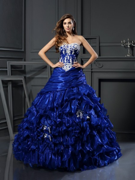 Ball Gown Royal Blue Tulle Floor-Length Dresses with Beading