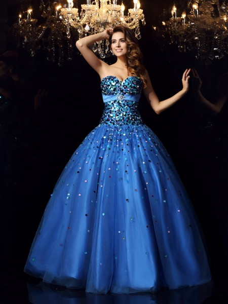 Ball Gown Royal Blue Satin Floor-Length Dresses with Beading