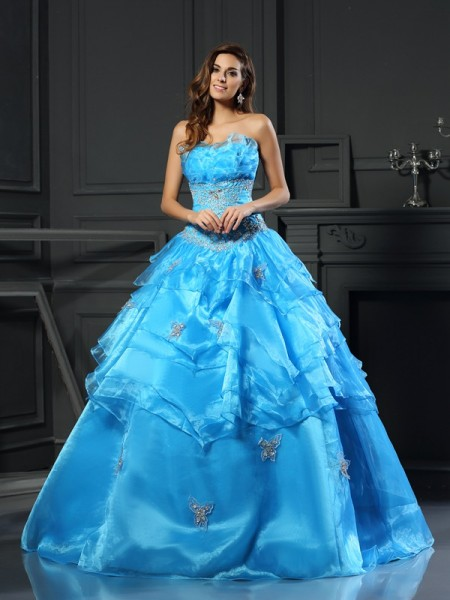 Ball Gown Blue Organza Floor-Length Dresses with Beading