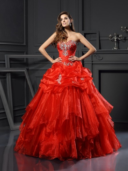 Ball Gown Red Tulle Floor-Length Dresses with Beading