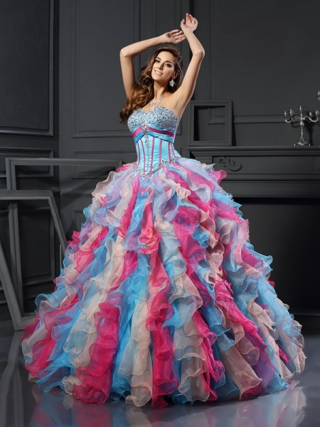 Ball Gown Multi Colors Organza Floor-Length Dresses with Beading