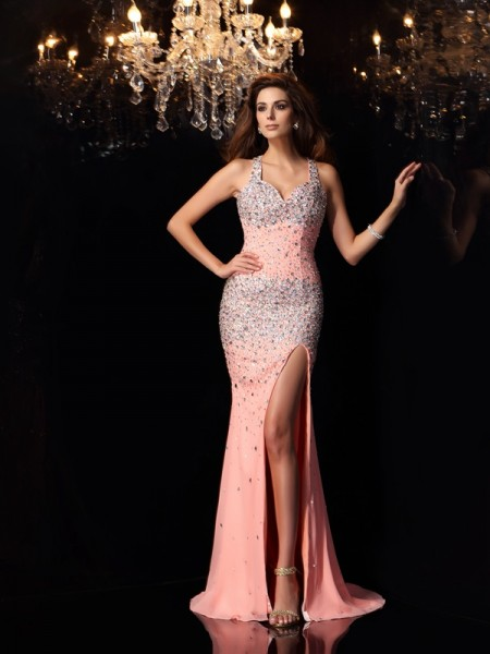 Trumpet/Mermaid Pink Chiffon Sweep/Brush Train Dresses with Beading