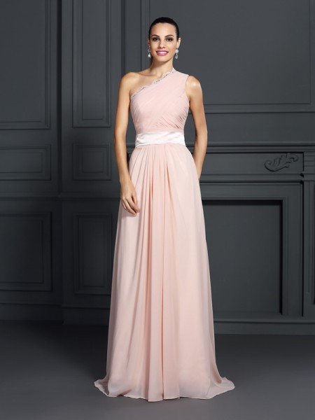 A-Line/Princess Pink Chiffon Sweep/Brush Train Dresses with Ruffles