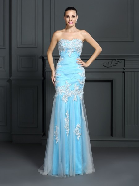 Trumpet/Mermaid Blue Elastic Woven Satin Floor-Length Dresses with Applique
