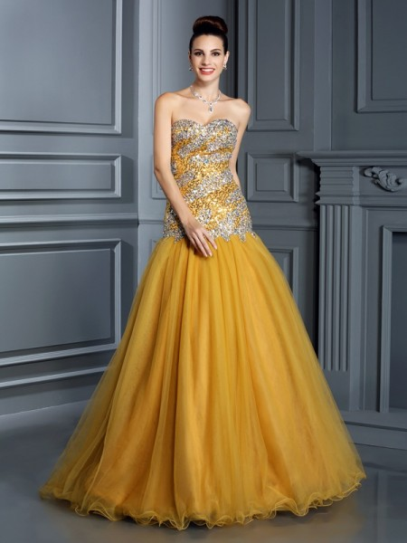 A-Line/Princess Yellow Satin Floor-Length Dresses with Ruffles