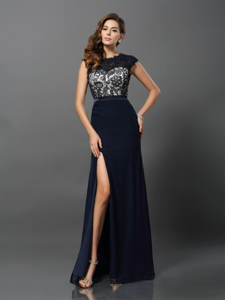 Sheath/Column Dark Navy Chiffon Floor-Length Dresses with Other