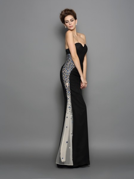 Trumpet/Mermaid Black Chiffon Floor-Length Evening Dresses with Ruched