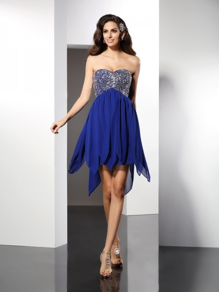 A-Line/Princess Royal Blue Chiffon Short/Mini Homecoming Dresses with Beading